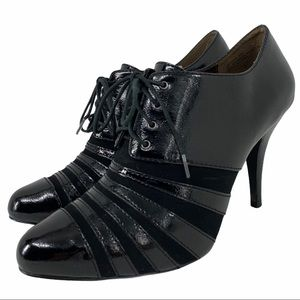 Black Patent Lace Front Oxford Style Heels